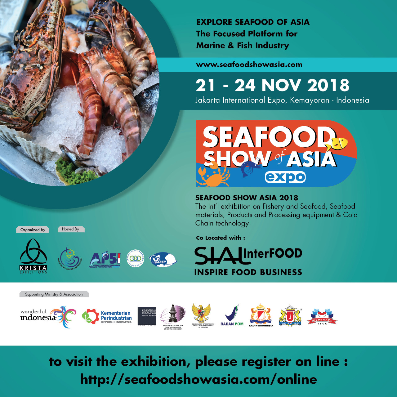 Seafood Show of Asia 2018, on 21 – 24th November at JIEx